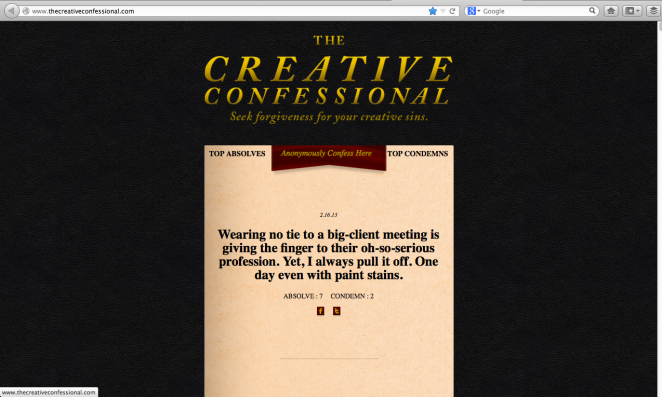 The Creative Confessional